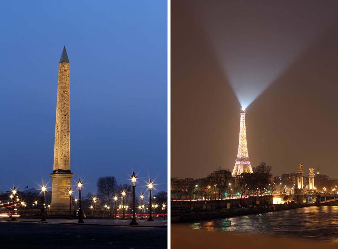 Tour Eiffel et Concorde de nuit