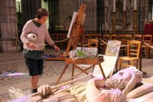 Peintre dans une basilique