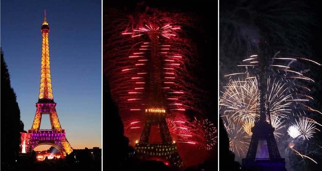 Tour Eiffel et feu d'artifice du 14 juillet