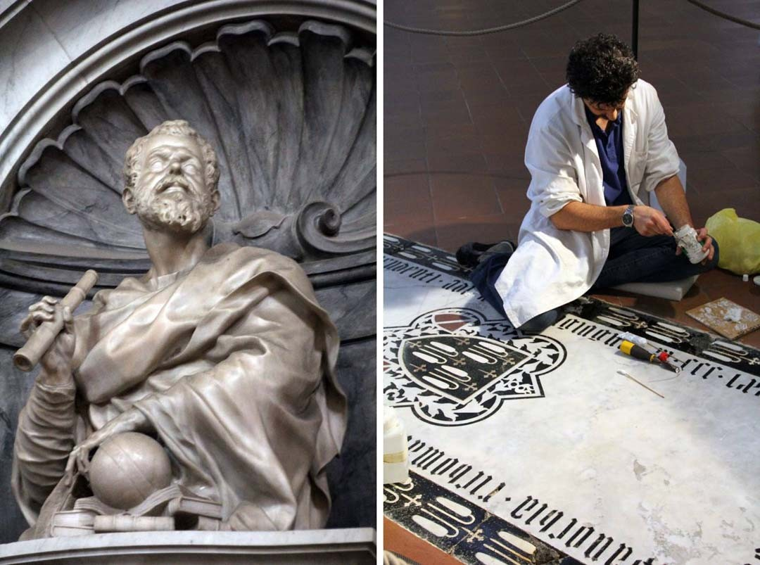 Basilique Santa Croce à Florence statue de Galilée