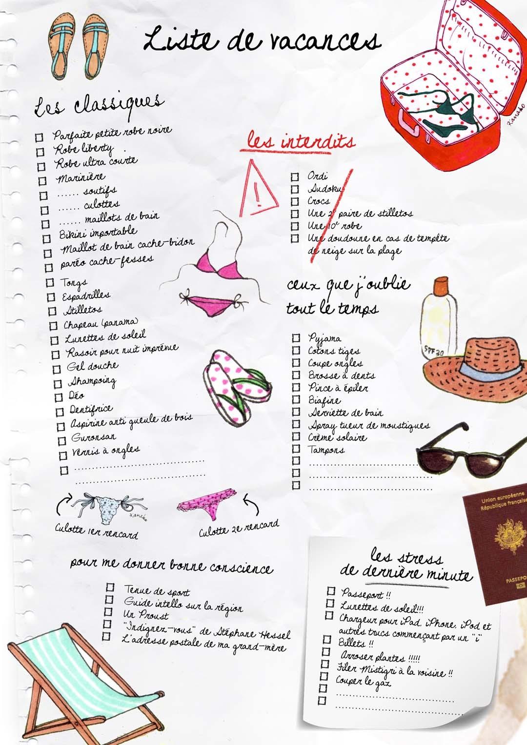 Liste de Vacances dessinée par Kanako