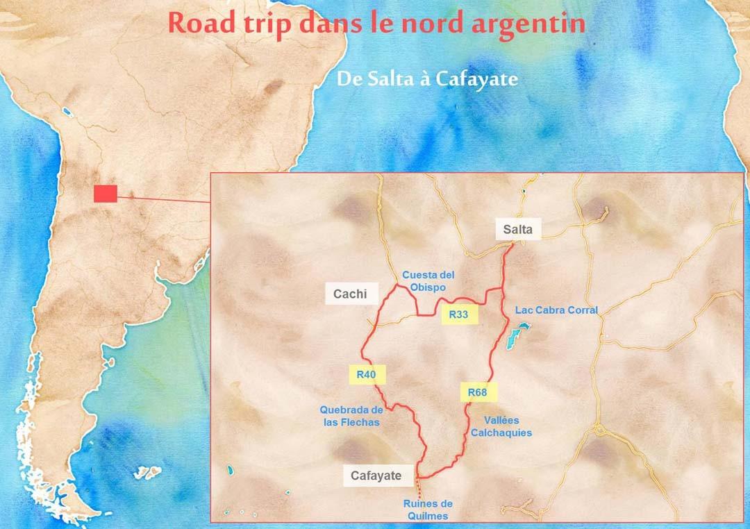 Carte itinéraire road trip argentine