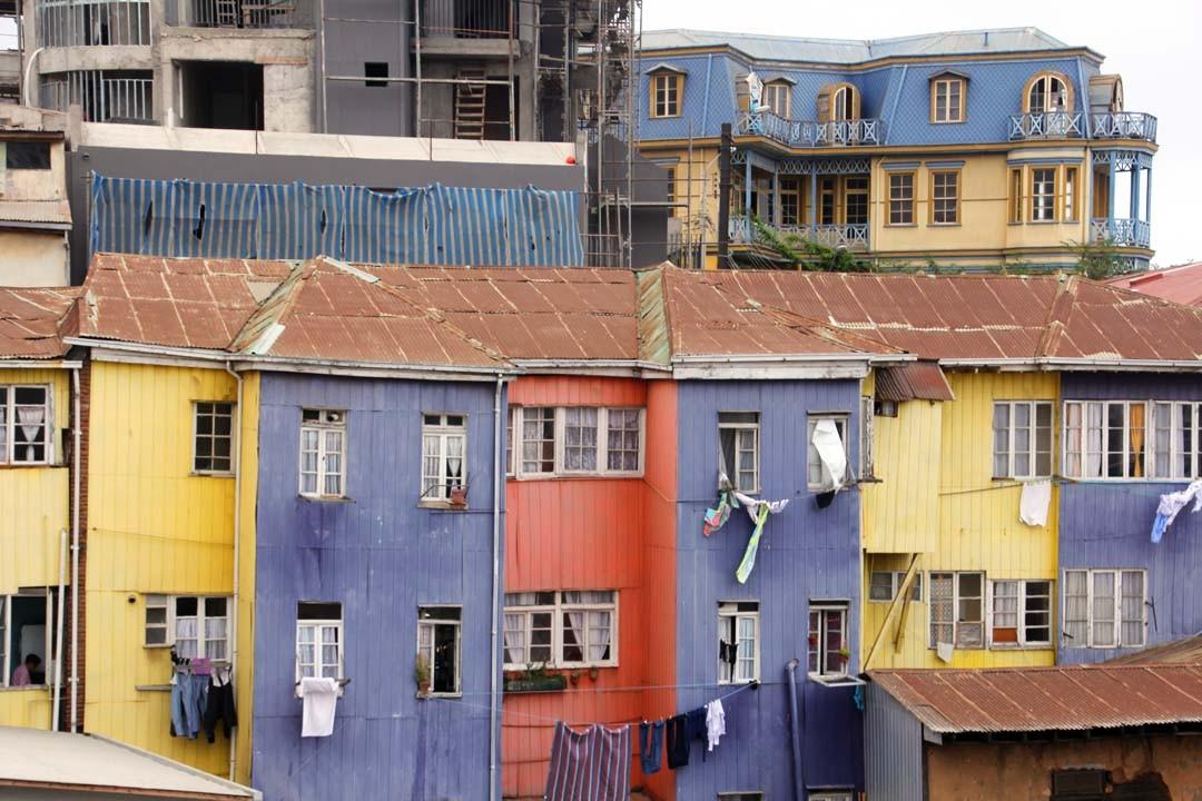 Maisons à Valparaiso au Chili