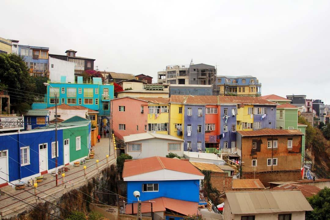 Collines (cerros) à Valparaiso au Chili