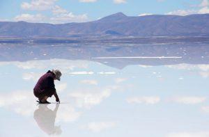 Reflets au Salar d'Uyuni en Bolivie