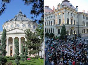 Athénée roumain et soirée dansante dans les rues de Bucarest